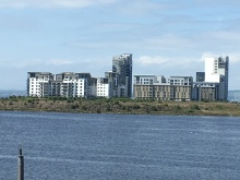 posh housing development overlooking Leith Harbour