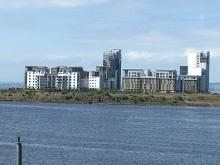 posh housing development overlooking Leith Harbour