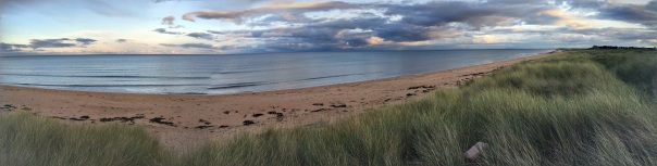 panorama of beach at Brora